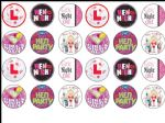 24 x Hen party edible wafer paper bun cup cake top toppers